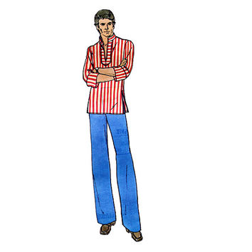 MENS BOHO HIPPIE Top Pattern Pullover V-Neck Shirt Top Butterick 3625 Vintage 1970s Mens Sewing Patterns Chest 38 40 Easy to Sew -Top Only