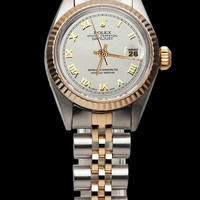 White roman dial rolex datejust lady watch oyster perpetual