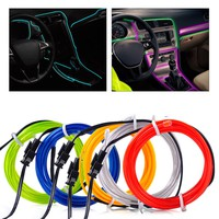 1x New 3mm 2m EL-Wire Flexible Stylings Car Interior Decor Fluorescent Neon Light Strip Cold light Tape 12V DC Cigarette Lighter