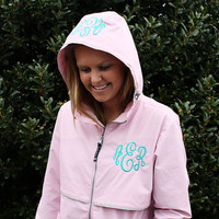 Pink Monogrammed Rain Jacket Personalized Hood & Left Chest