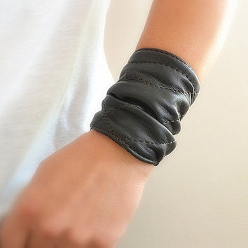 Black Leather Cuff  Bracelet Wrap Women, Black Wrap Leather Cuff, Customized Leather Bracelet Cuff