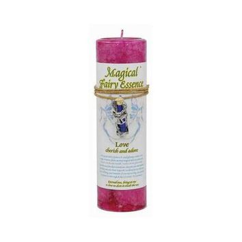 "Love Pillar Candle with Fairy Dust Necklace 6 1/2"" tall"