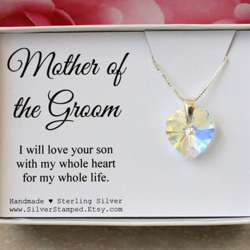 Gift for Mother of the groom from Bride, Sterling silver heart necklace with Swarovski crystal heart in a gift box, gift for mother in law