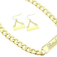 """""""BITCH"""" ID Statement Gold Necklace & Earrings Set Chunky Bling Rhinestone"""