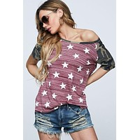 Camo and Stars Top - Red