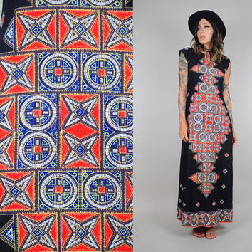 vtg 70's INDIAN COTTON Maxi tent dress geometric batik Hippie bohemian Ethnic trapeze dashiki