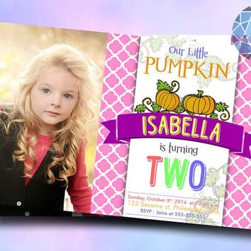 Our Little Pumkin Pink Pattern Design For Birthday Invitation on SaphireInvitations