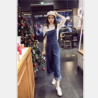 Fashion Denim  Tassel  Overalls Jumpsuit