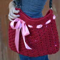 Crochet shoulder purse tote bag with ribbon in cranberry.