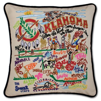 Oklahoma Hand Embroidered Pillow