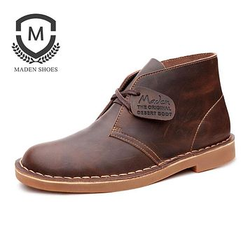 Maden Brand 2017 Fashion New Men Boots High Quality Leather Casual Winter Boot British Style classic Tooling Boots Casual Shoes