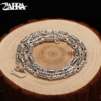 ZABRA Real 925 Sterling Silver 4mm 60cm Bamboo Shape Men's Long Necklace Vintage Steampunk Retro Link Chain Cool Silver Jewelry