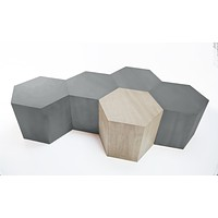 Hexagon Wood Modern Geometric Table- Matte Grey
