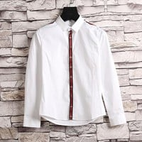 GUCCI Bee Embroidery Woman Men Lapel Shirt Top Tee