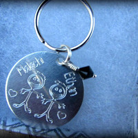 Personalized Key chain with up to 2 stick figure children, Engraved Aluminium disk with names