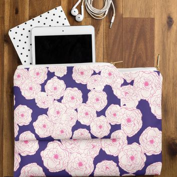 Joy Laforme Floral Sophistication In Navy Pouch