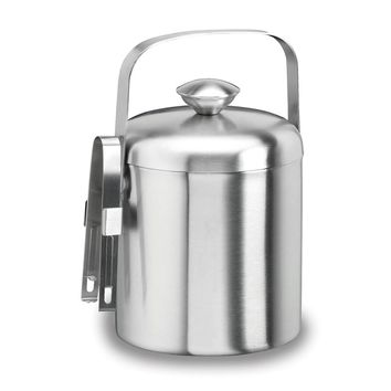 Brushed 18/8 Stainless Steel 1.5 Qt. Doublewall Ice Bucket W/tongs