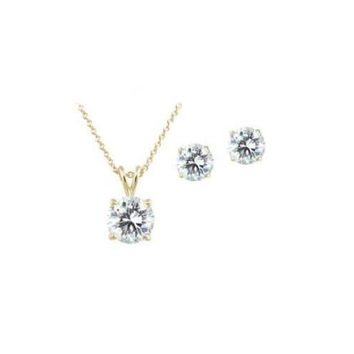 Swarovski Crystal Elements Necklace & Earring Set in 18k Gold.