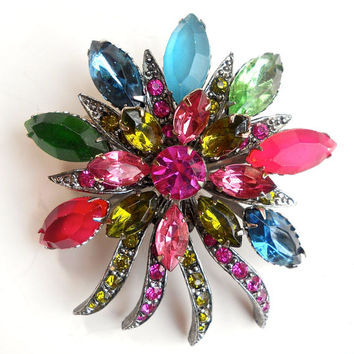 Pastel Fruit Salad SELINI Brooch, Multi Color Rhinestone Flower Motif, Signed Vintage