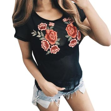 New Summer Women T Shirt Fashion Cotton Female Rose Flower Tops Embroidered Floral  T Shirt Camisetas Mujer Apr19
