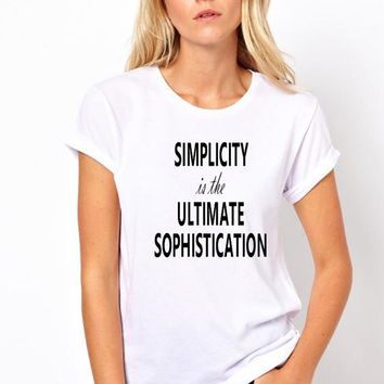 Simplicity is the Ultimate Sophistication White Black Grey Short Sleeved Tshirt Unisex Model Fashion Look American Apparel