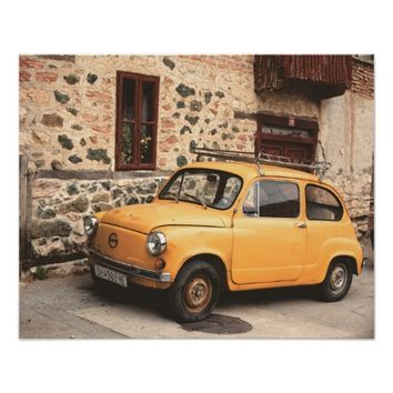 Yellow car Vintage Poster