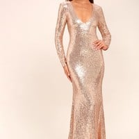 Capture the Moon Rose Gold Long Sleeve Sequin Maxi Dress