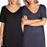 Mollie 2 Pack V Neck Roll Sleeve TShirt Dress