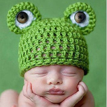 Green Frog Style Newborn Infant Baby Knit Crochet Hat Photography Prop Costume Cap Beanie XDT36 (Size: 6-9m, Color: Green) = 1958046596