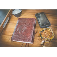 Mahogany Musk Leather Journal [with elephant Mid-Size]