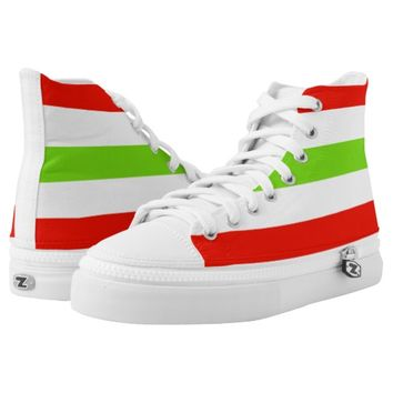 Stripes White Red Green High-Top Sneakers