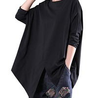 Women's Black Cotton T-Shirt Blouses Tops Long Sleeve Casual Loose Fitting Plus Size