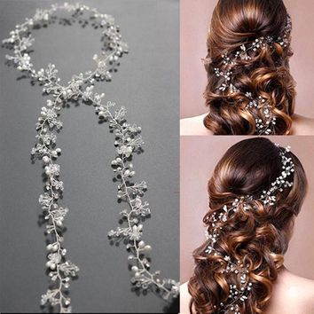 Western Wedding Fashion Headdress For Bride Handmade Wedding Crown Floral Pearl Hair Accessories Hairpin Ornaments 6C0193