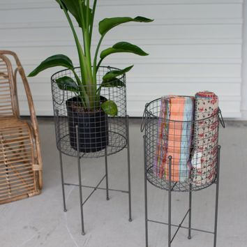 Set of 2 Wire Mesh Baskets On Stands