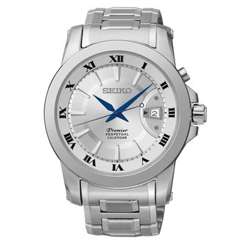 Men's Seiko Premier Quartz Perpetual Stainless Steel Watch