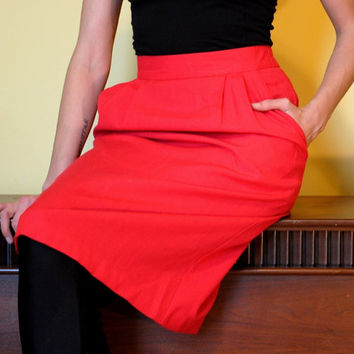 Vintage Red Skirt Pleated Women Stretch Waist 80s Knee Length Skirt with Pockets, Perfect Holiday Party Skirt