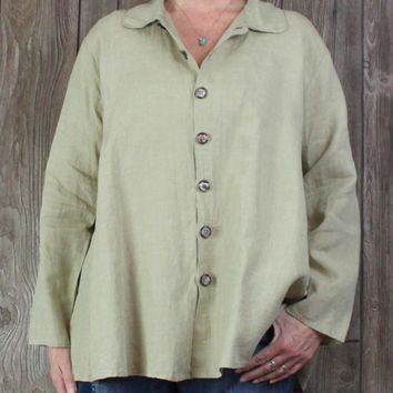 Nice CP Shades Sausalito Blouse M size Khaki Irish Linen Aline Pre Shrunk Hand Dyed