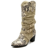 winter women pumps high heels Snakeskin autumn Buckle Strap women Knee-High boots pointed toe 1138 35