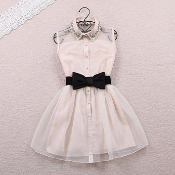 Nice Show Thin Bowknot Pearl Net Dress Gauzy Skirt Sleeve Dress