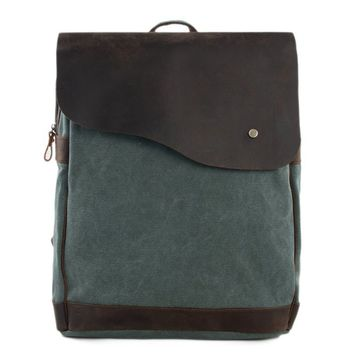 Handmade Canvas with Leather School Backpack - Olive Green