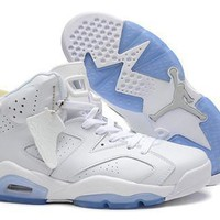 Cheap Nike Air Jordan 6 Retro Men Shoes White Blue Grey Hot Sale