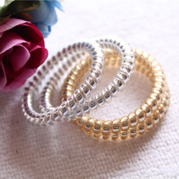 5PCS/pack New Fashion Women Lady Girls Gold/Silver Elastic Telephone Wire Hair Bands Ropes Ponytail Holders Hair Accessories
