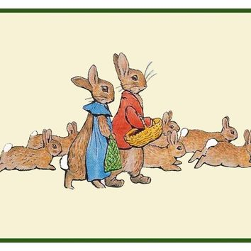 Flopsy Bunny Rabbit's Family Inspired by Beatrix Potter Counted Cross Stitch or Counted Needlepoint Pattern