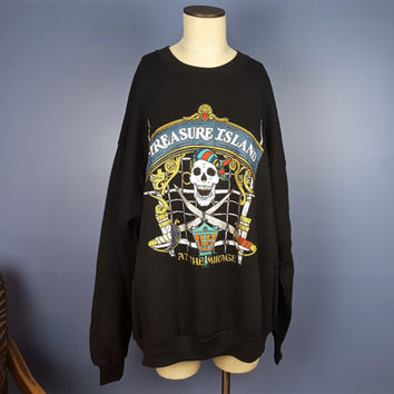 Vintage Treasure Island Pirate Skull Graphic Crewneck Sweatshirt Black Slouchy Oversized Sweatshirt Dress 90s Style XXL Sweatshirt Dress