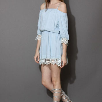 Lace Trimmed Cold Shoulder Dress [6240898372]