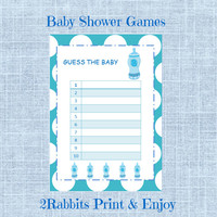 Guess the Baby Food - Boy Baby Shower-Printable Baby Shower Game-Instant Digital Printable- Light Blue Polka Dot Background-Blue Baby Bottle