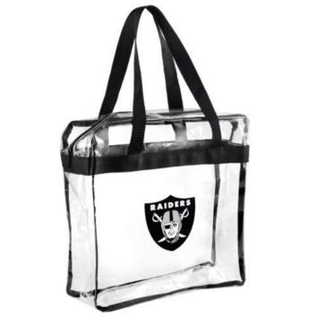 Oakland Raiders Clear Plastic Zipper Tote Bag NFL 2017 Stadium Approved