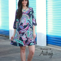Charcoal Paisley Printed Dress with Criss Cross Design