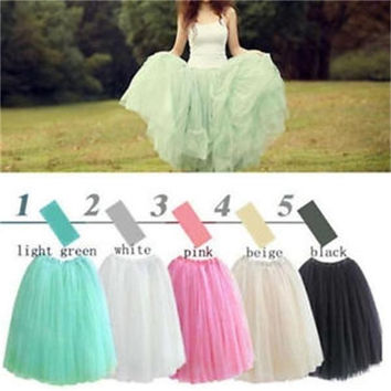 Popular Ladies Princess Style Skirt Five layers elegant gauze Tulle Skirts Summer One size  Length : 70cm      Waist   :  60cm  = 5979085825