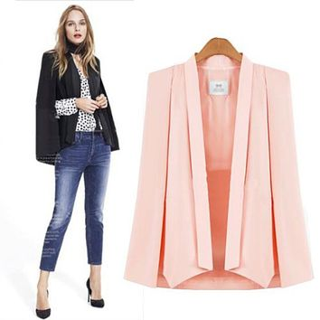 White Black Pink Elegant Women's Autumn Solid Color OL Suit Jacket Coat Vintage Shawl Collar Split Sleeve Cloak Blazer Cape